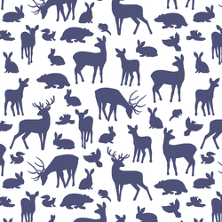 Forest Friends in Indigo on White