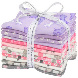 Cozy Cotton Flannel Fat Quarter Bundle in Pink and Purple