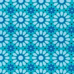 Geometric Flowers in Teal
