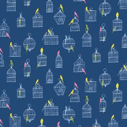 Bird Cages in Navy Multi