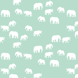Elephant Silhouette in Mint