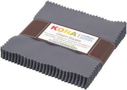 """Kona Solid 5"""" Square Pack in Coal"""