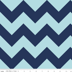 Large Chevron Tone on Tone in Navy