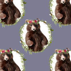 Floral Honey Bear Wreath in Lilac Bush