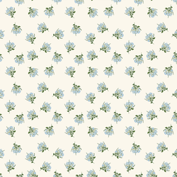 Blue Woodland Florals in Ivory