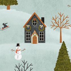 Large December Village in Frosty