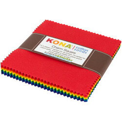 Kona Cotton Solids Charm Squares in Bright Rainbow