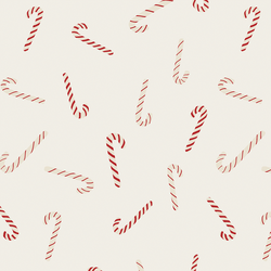 Tossed Candy Canes in Christmas Red