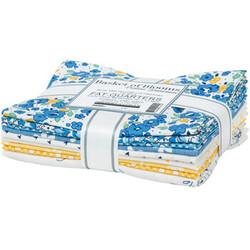 Basket Of Blooms Fat Quarter Bundle in Blue and Yellow