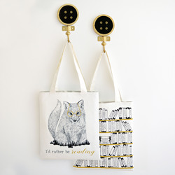 The Reader Tote Panel in Onyx and Gold