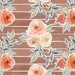 Ardent Floral Stripe in Hot Chocolate Wash
