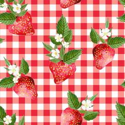 Large Strawberries in Berry Red Gingham