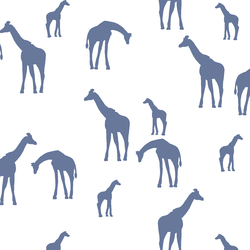 Giraffe Silhouette in Azurite on White