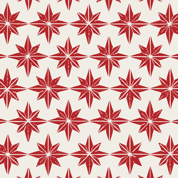 Large Stars in Christmas Red on Cream