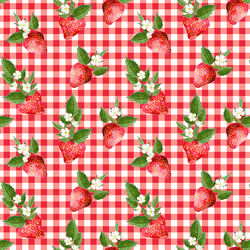 Strawberries in Berry Red Gingham