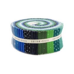 """Cotton and Steel Basics 2.5"""" Strip Roll in Cool"""