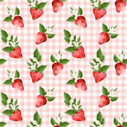 Strawberries in Petal Pink Gingham