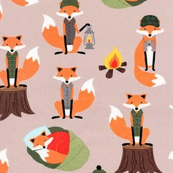 Camping Foxes Flannel in Nature