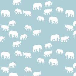 Elephant Silhouette in Powder Blue