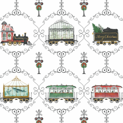 Large Decorative Christmas Trains in Holiday
