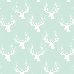 Little Deer Silhouette in White on Light Green