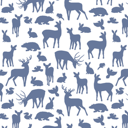 Forest Friends in Azurite on White
