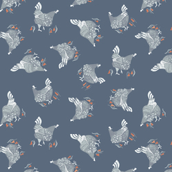 Chickens in Teal