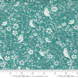 Birdie Toile Floral Birds in Turquoise
