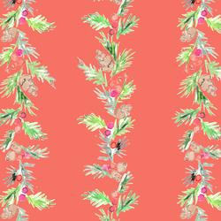 Pine Garland in Festive Red