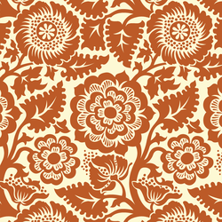 Blockprint Blossom in Rust on Ivory