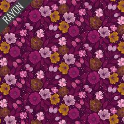 Flowers Rayon in Purple Multi