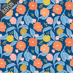 Meadow Rayon in Navy Multi