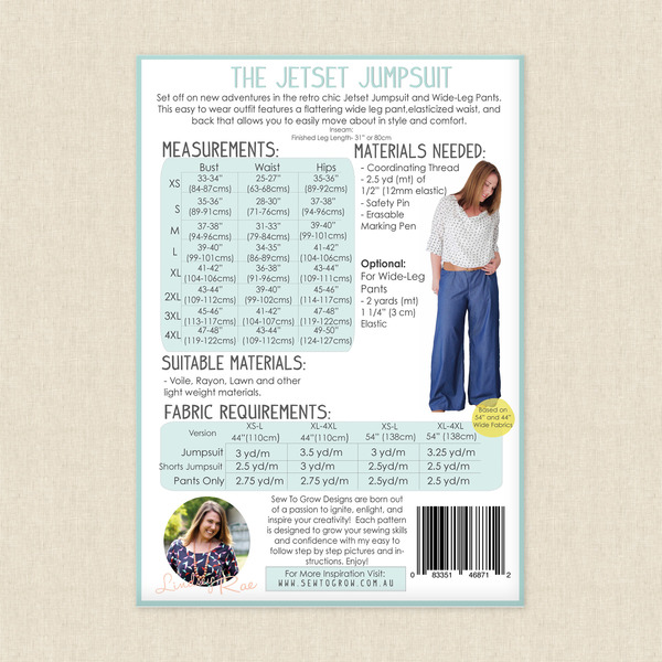 Jetset Jumpsuit And Wide Leg Pants Sewing Pattern By Sew To Grow At