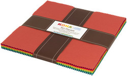 """Kona Solid 10"""" Square Pack in Paintbox Basics Coordinates"""