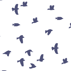 Flock Silhouette in Indigo on White
