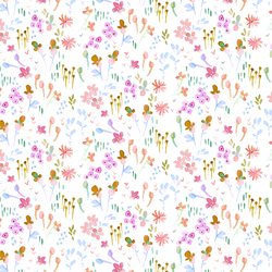 Butterfly Floral in White Cloud