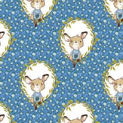 Large Dainty Floral Baby Boy Kangaroo in Bright Blue