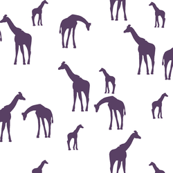 Giraffe Silhouette in Aubergine on White