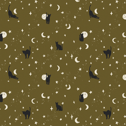 Moonstruck Cats in Olive Green