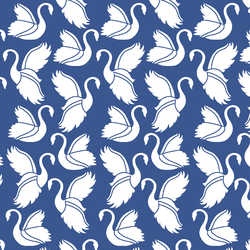Swan Silhouette in Blue Jay