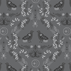 Raven Damask in Charcoal