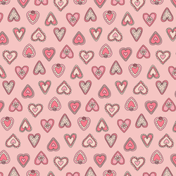 Vintage Hearts in Bright Rose