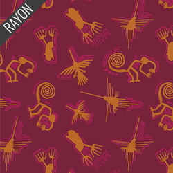 Nazca Lines Rayon in Carmine