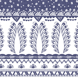 Cascading Border in Indigo