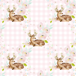 Blush Floral Deer in Soft Pink Gingham