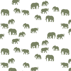 Elephant Silhouette in Olive on White