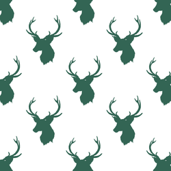 Little Stag Silhouette in Moss Green on White