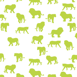 Lion Silhouette in Lime on White
