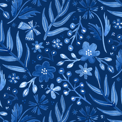 Large Flutter Floral in Sapphire