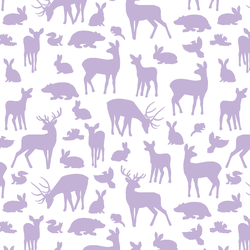Forest Friends in Lilac on White